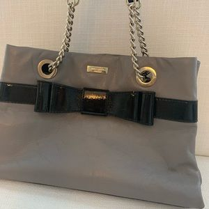 Kate Spade gray satchel with black patent leather